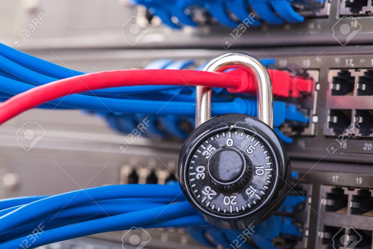 Netzwerk- Und Datenschutzkonzept Mit Vorhängeschloss Und Schalter ...