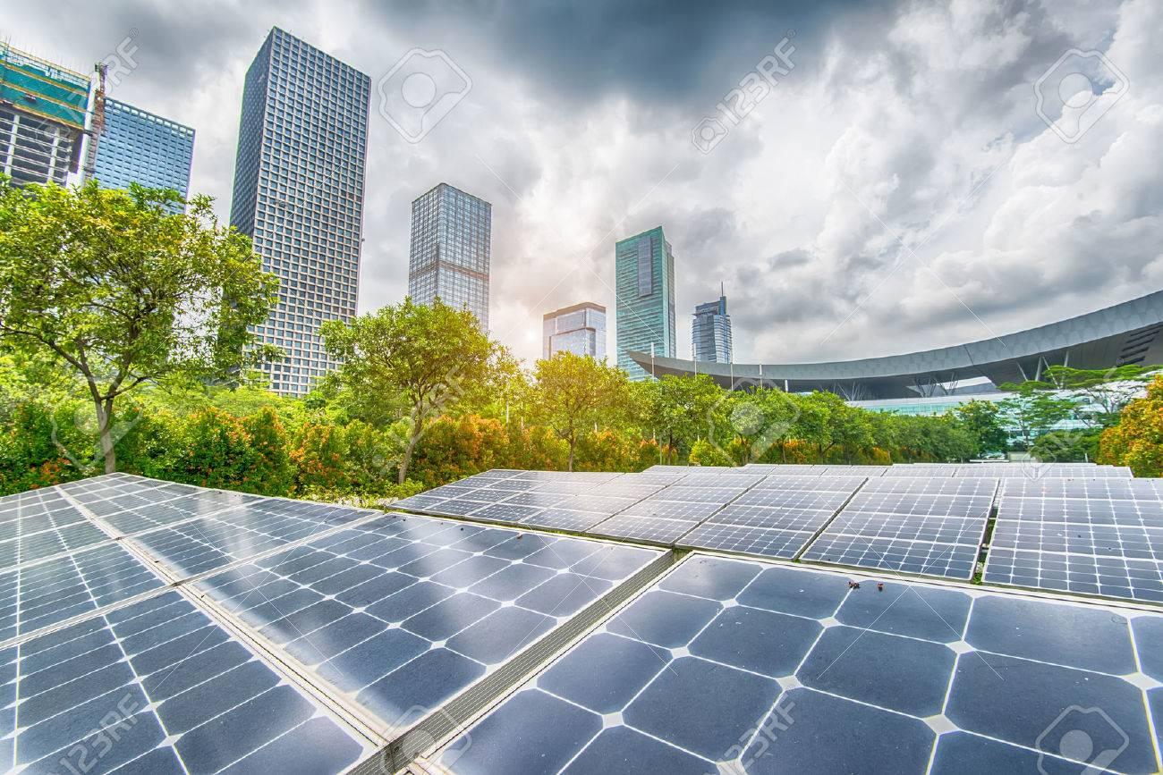 Solar Panels In The Park Of Modern City - 57734379