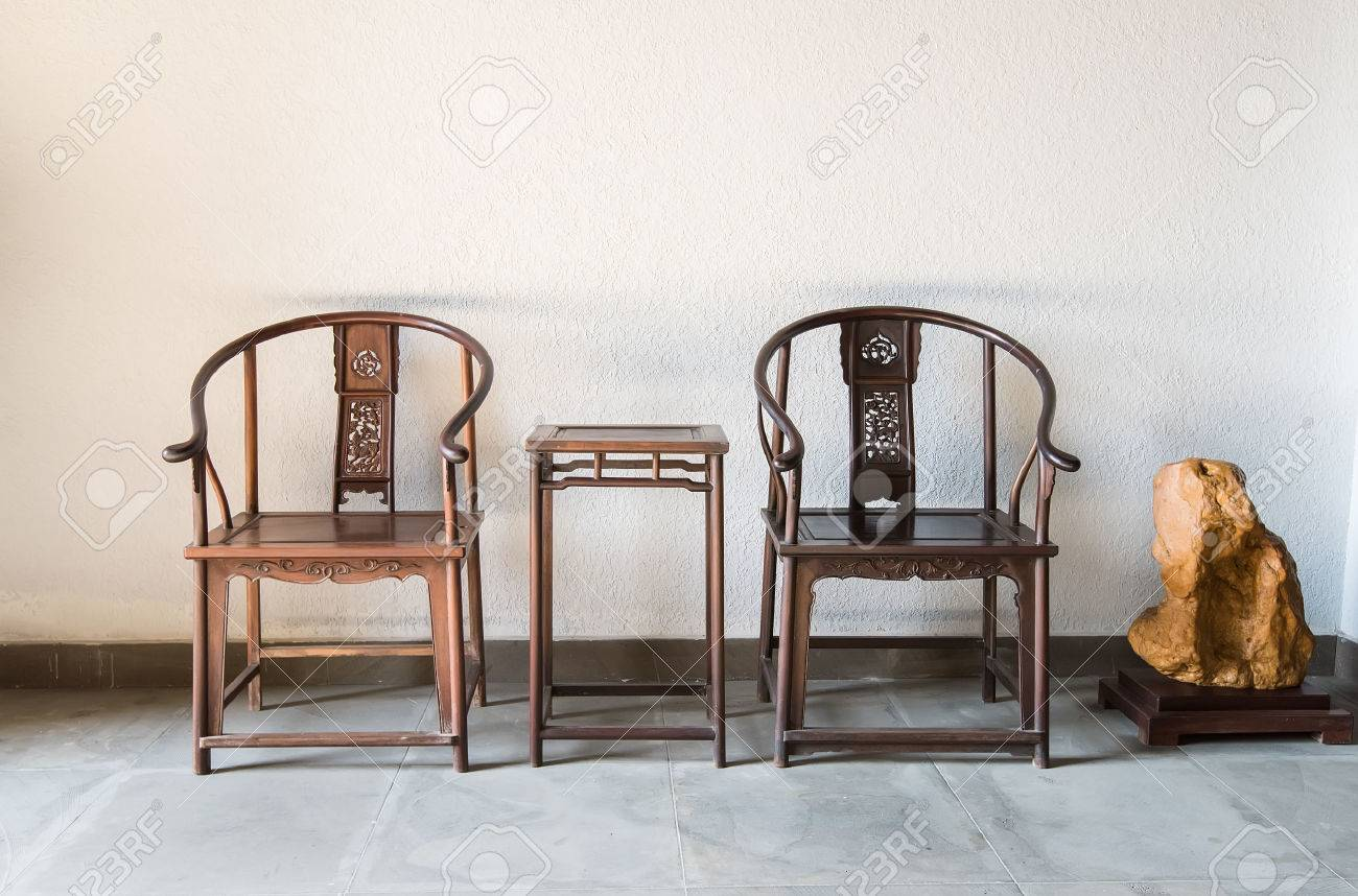 Chinese Antique Ming Style Furniture Chair Made From Elm Wood. Stock Photo    59489238