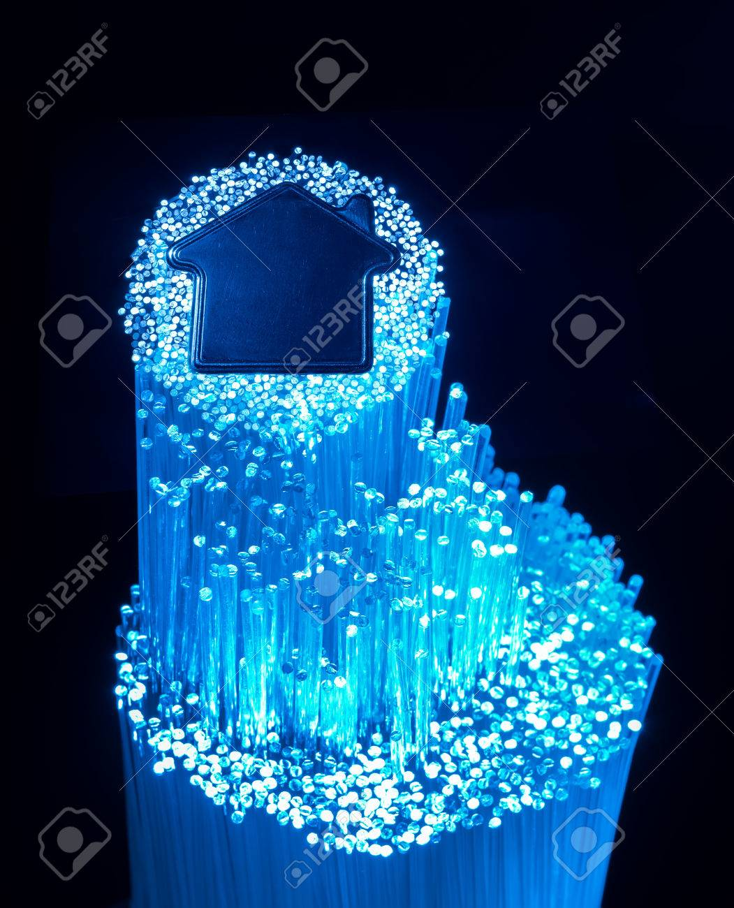 60957900 fiber optic connection to house fiber optic connection to house stock photo, picture and royalty