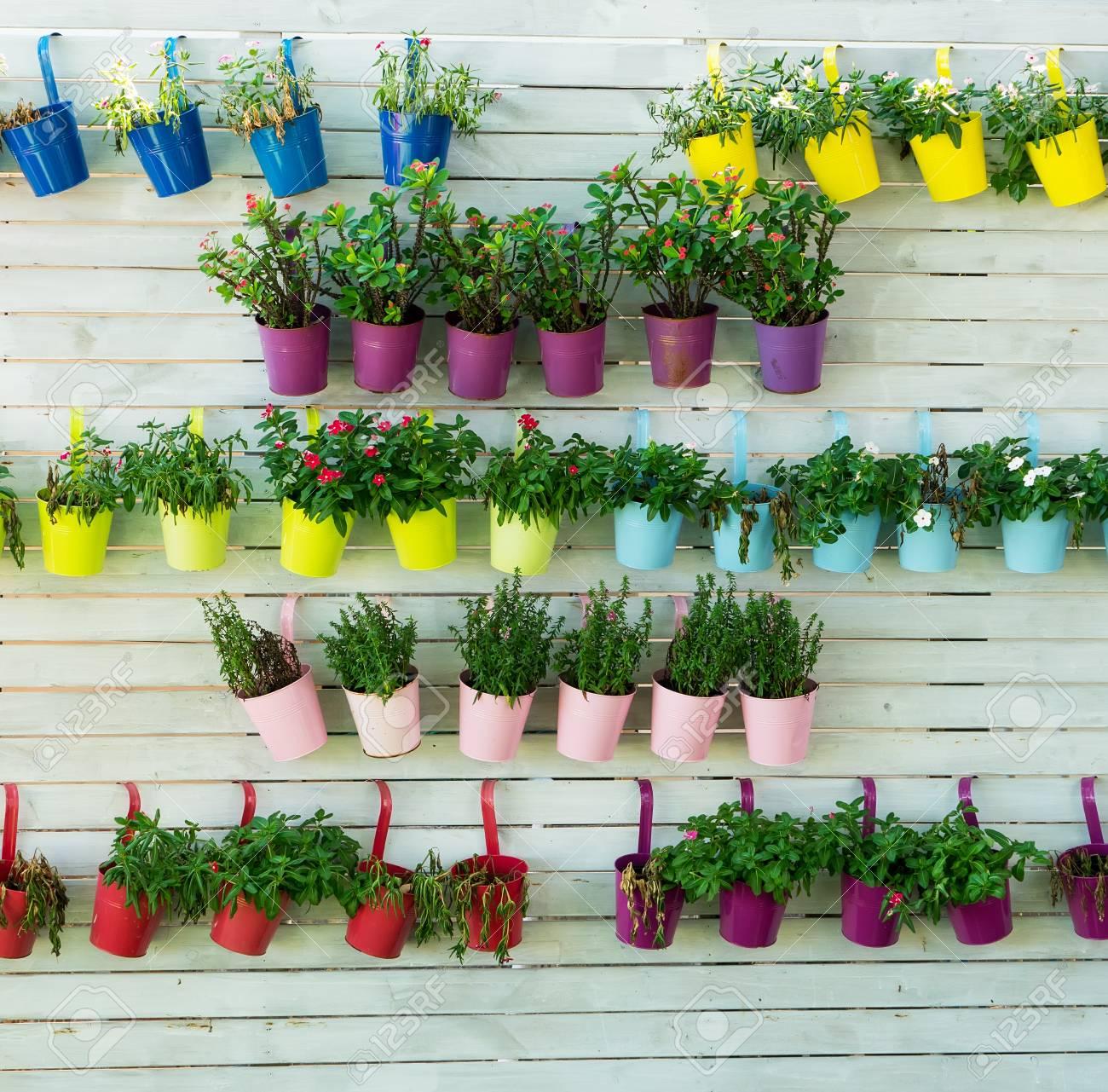 fence flower pots hanging