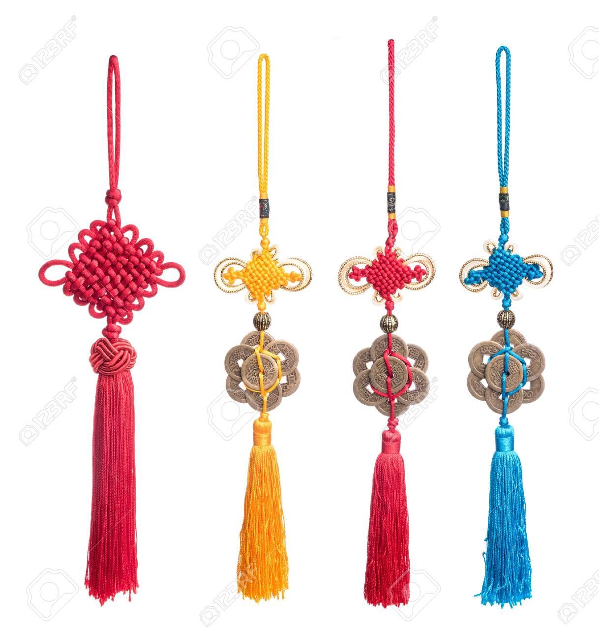 Traditionelle Chinesische Knoten Sammlung Auf Weißem Hintergrund ...