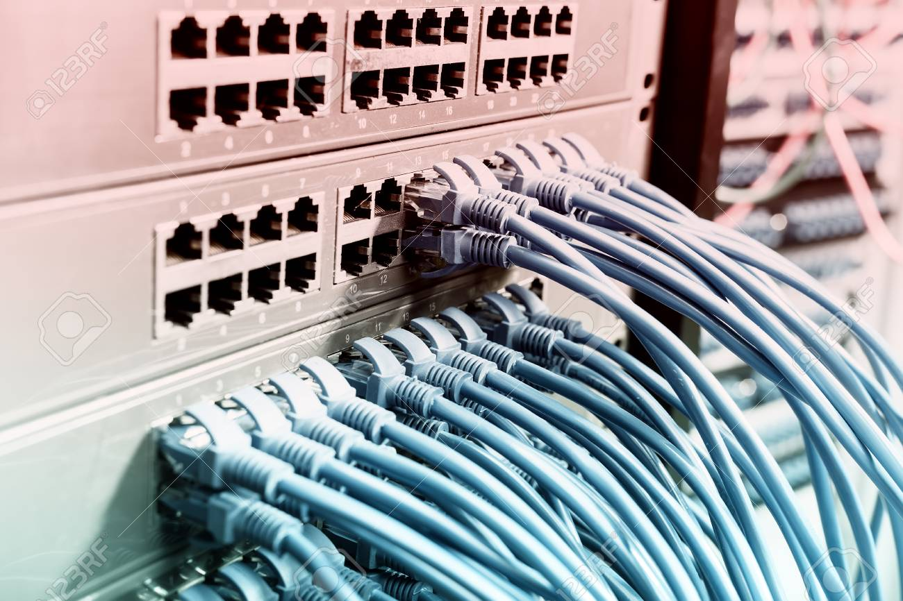 Network Cables In Switch And Firewall In Cloud Computing Data ...