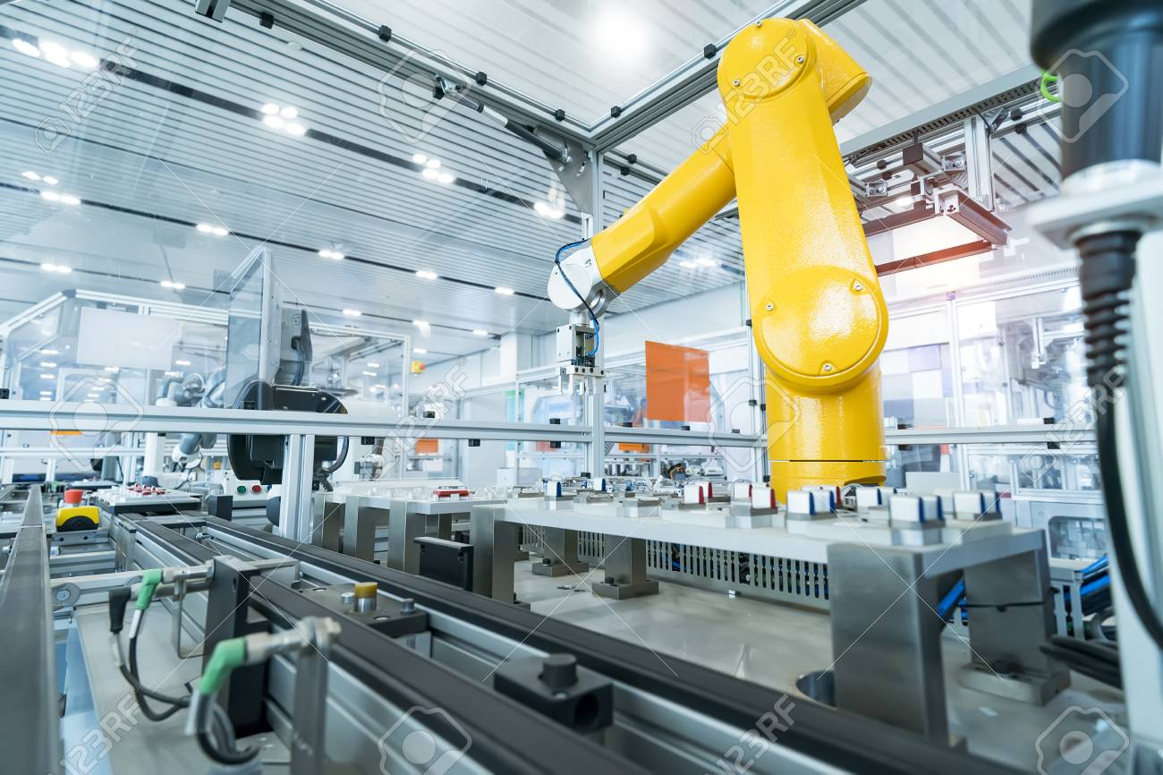 Robotic Arm production lines modern industrial technology. Automated production cell. - 107611837