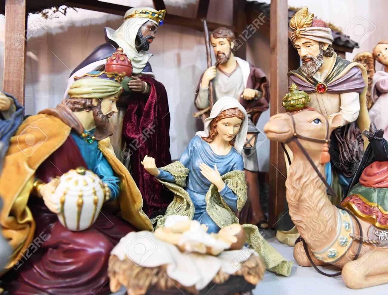 Nativity Scene Christmas Christmas Manger Scene With Figurines Newborn Jesus Mary Joseph And Magi Stock Photo Picture And Royalty Free Image Image 128943657