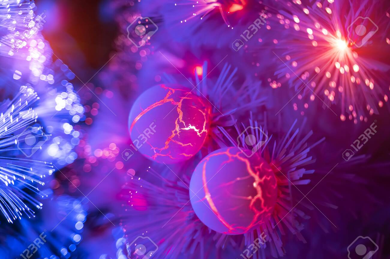 Christmas fiber optic decorated Tree with dectoration,holiday concept. - 138701564