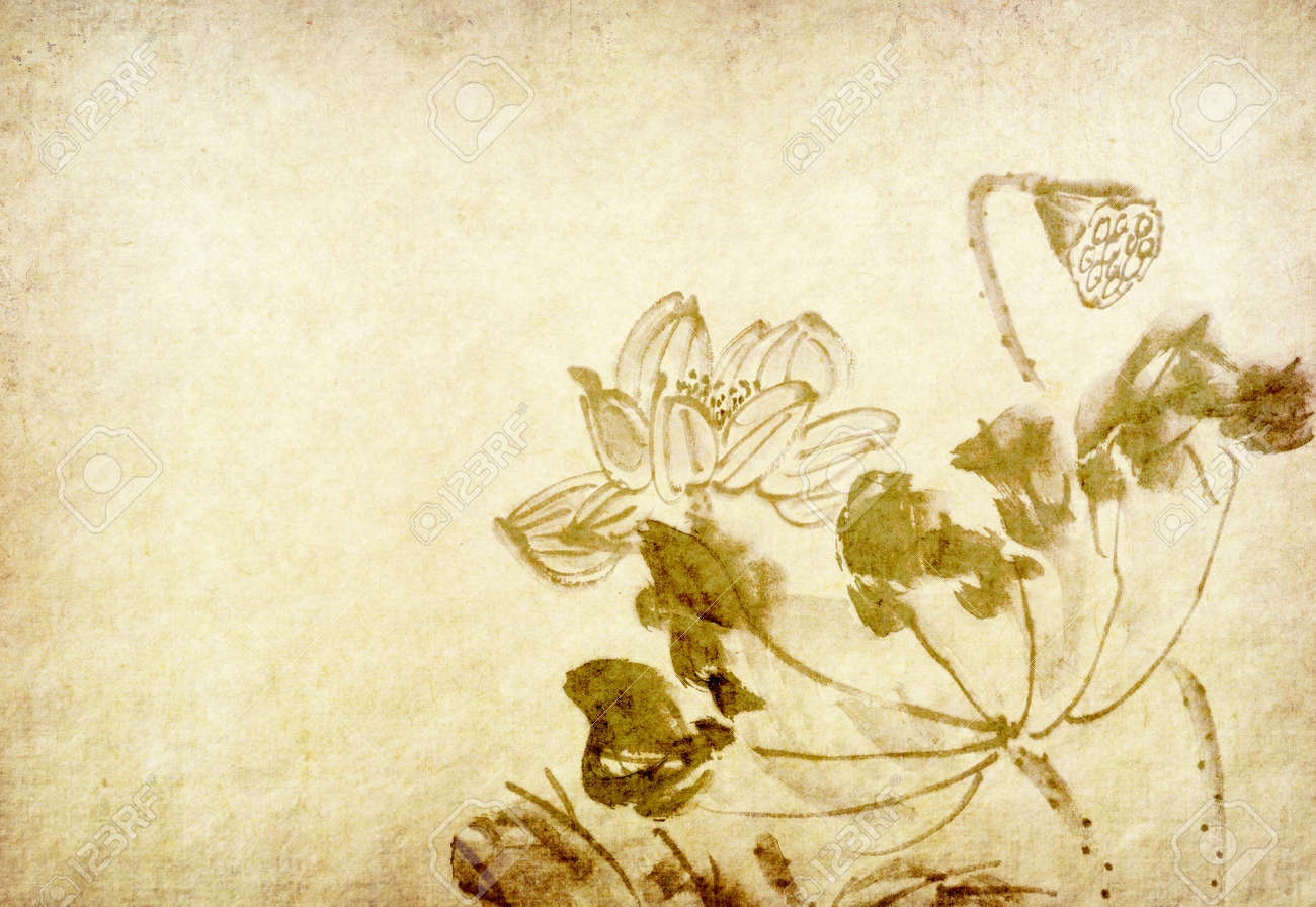 Lotus flower chinese watercolor painting - 152456975