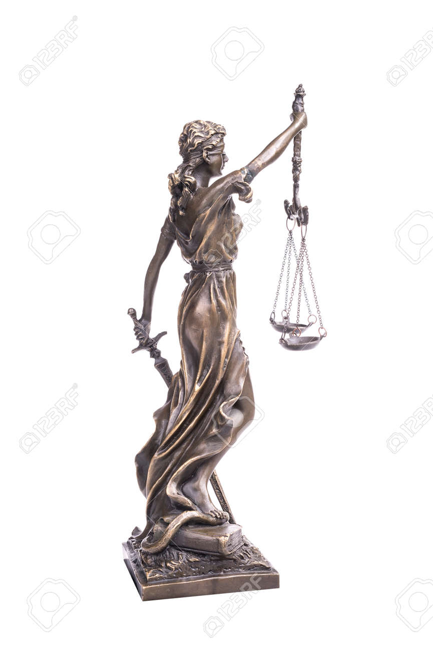 Statue of justice isolated on white, law concept - 159169523