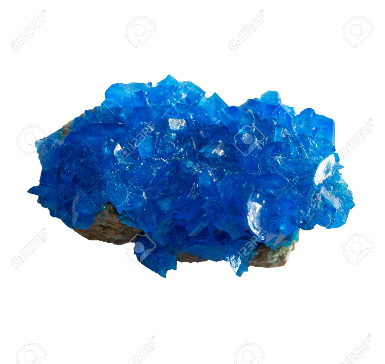 Blue mineral chalcanthite (copper sulfate) on stone on a white background - 21223369