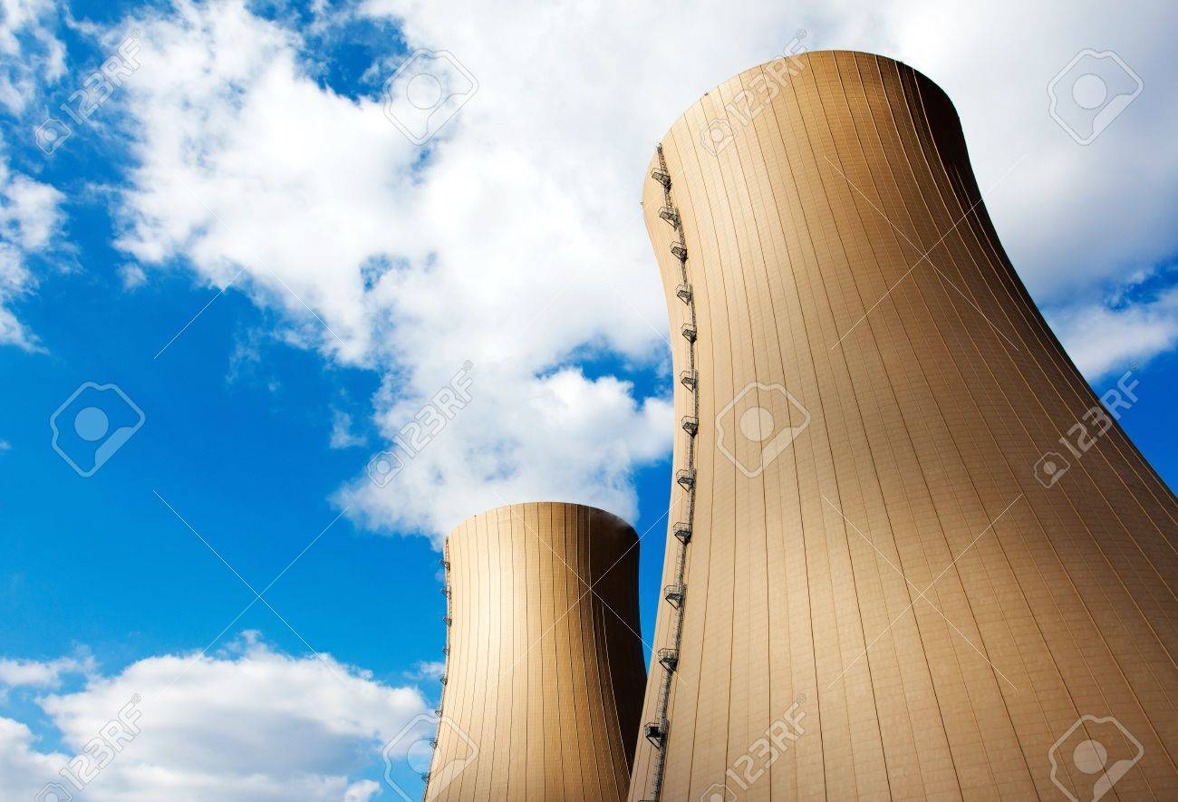 Nuclear power plant against sky and clouds - 21275894