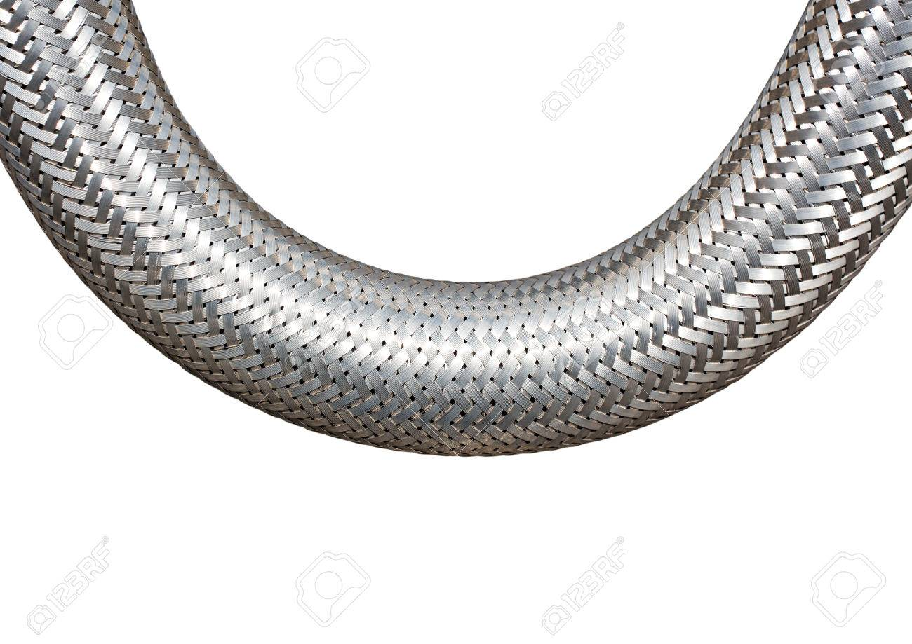 Braided Metal Cable On A White Closeup Stock Photo, Picture And ...