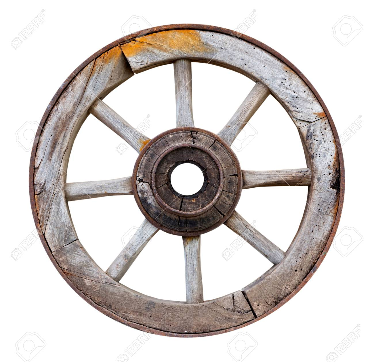 Old wooden wheel on a white background - 29752530