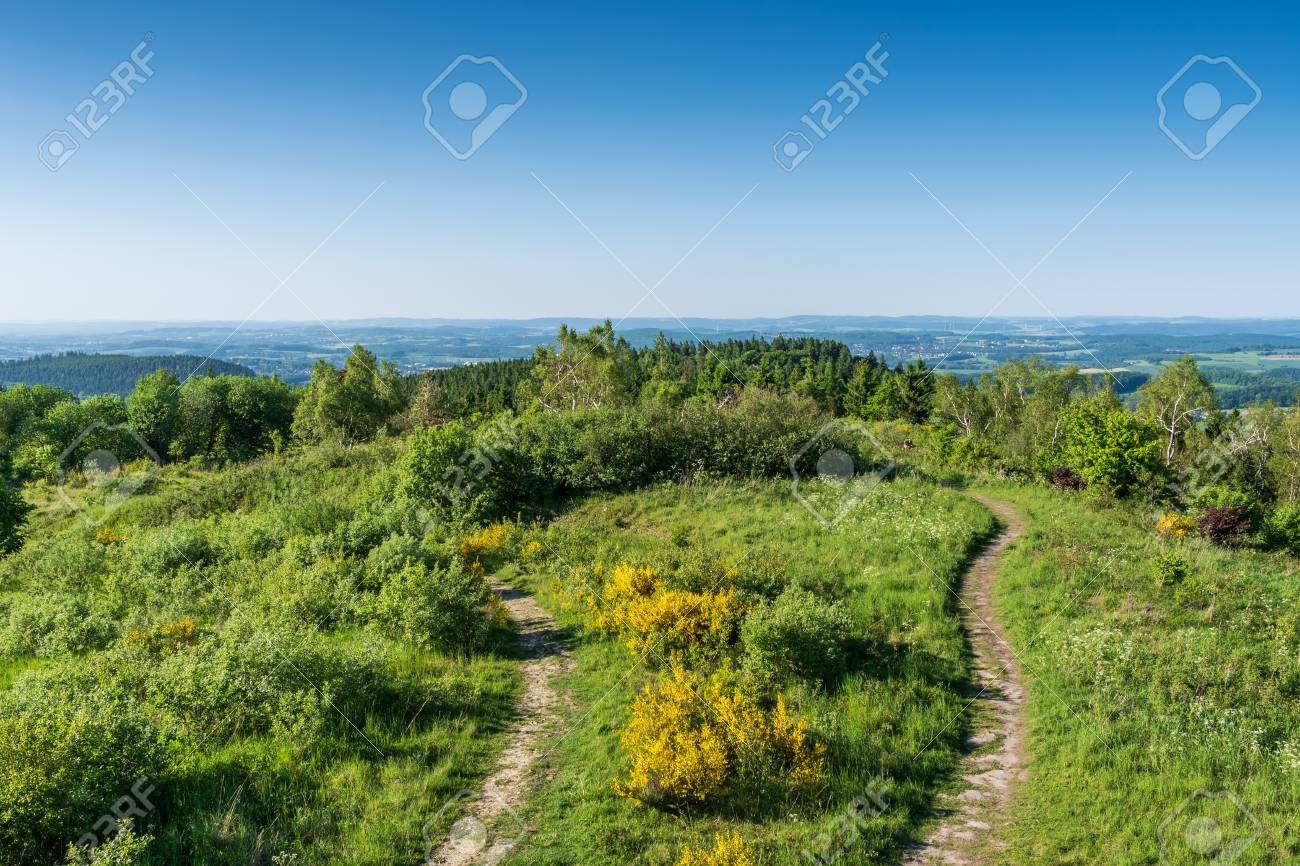 Teutoburg Forest view of Velmerstot hill, Germany . - 117911642