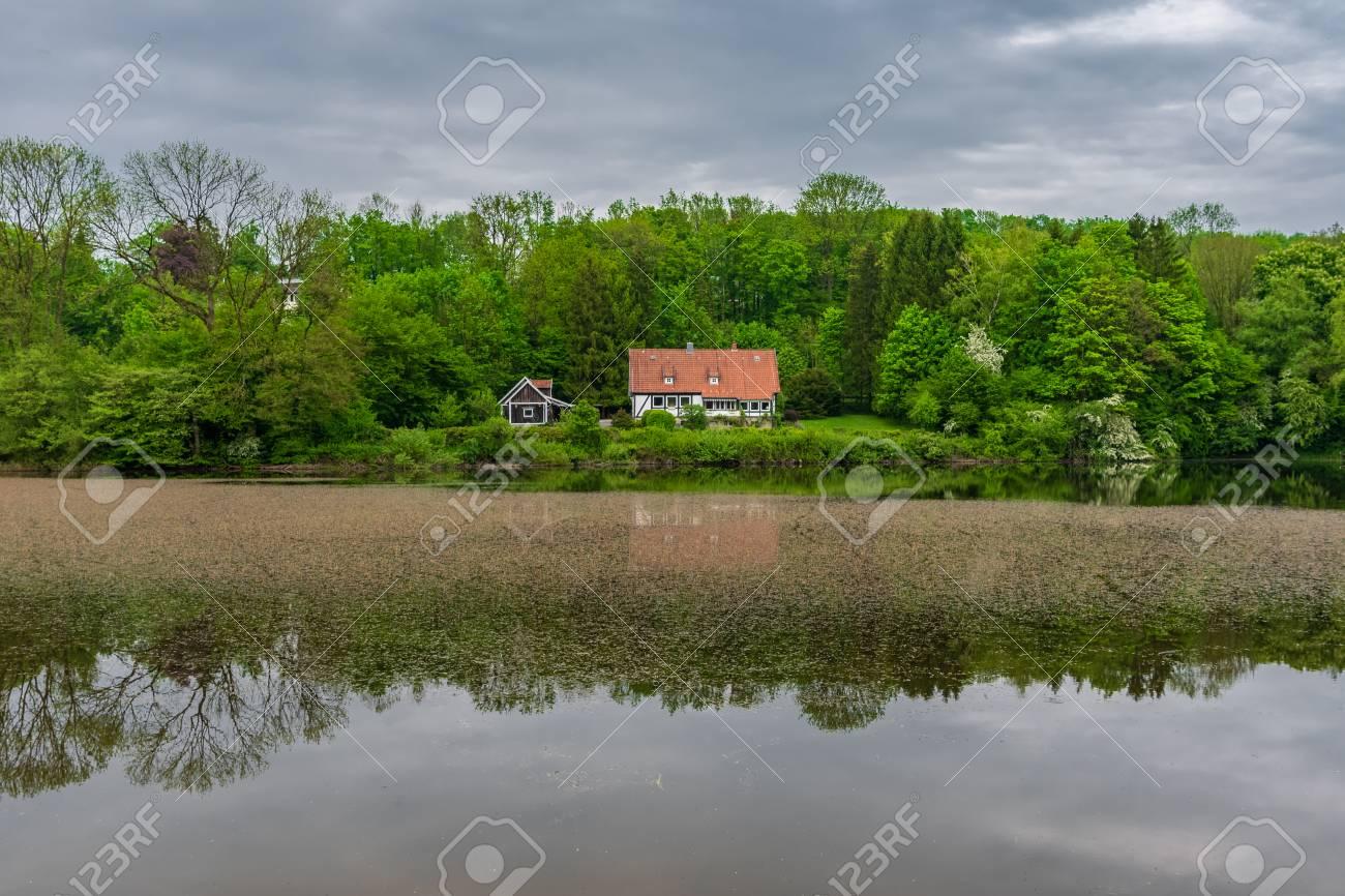 Pond in Teutoburg Forest nearby Externsteine rocks, Germany . - 117911425