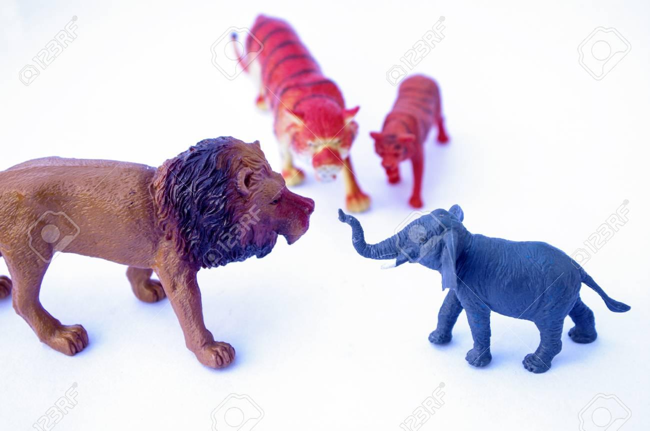 Festes Tierspielzeug Für Kinder Auf Weißem Hintergrund