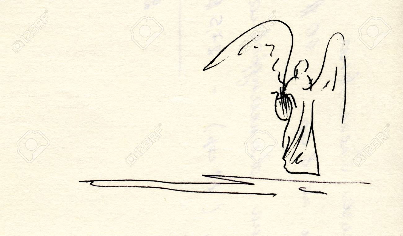 Artistic drawing of an Angel with lyre, both for print and web Stock Photo - 72829078