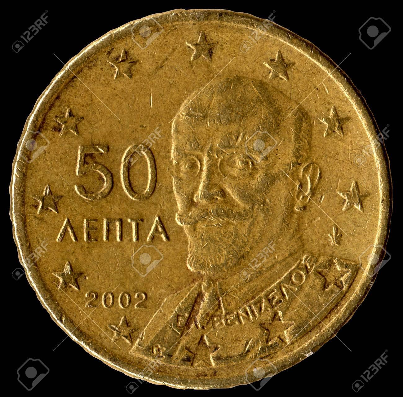 Griechische Münze Von 50 Cent Lizenzfreie Fotos Bilder Und Stock