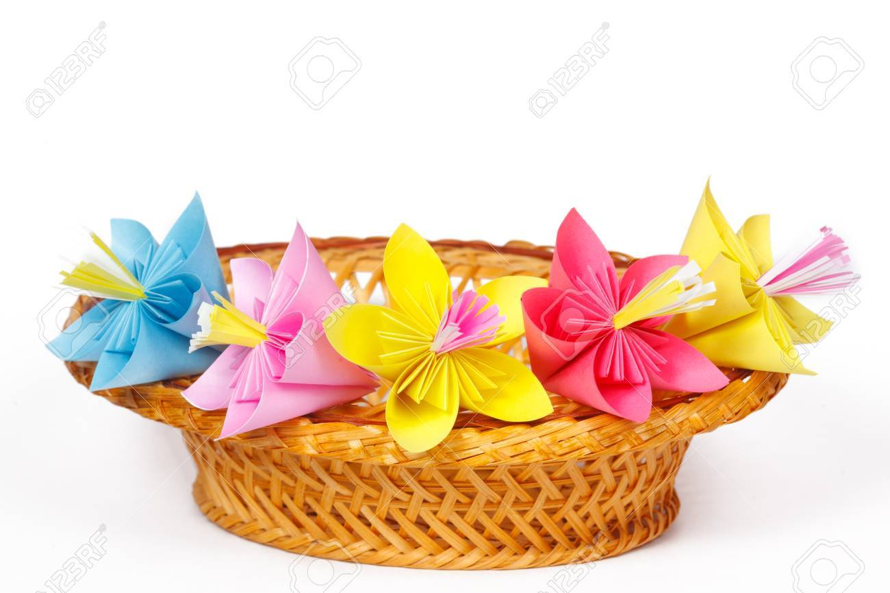 Five Colored Paper Flowers In The Basket Stock Photo Picture And
