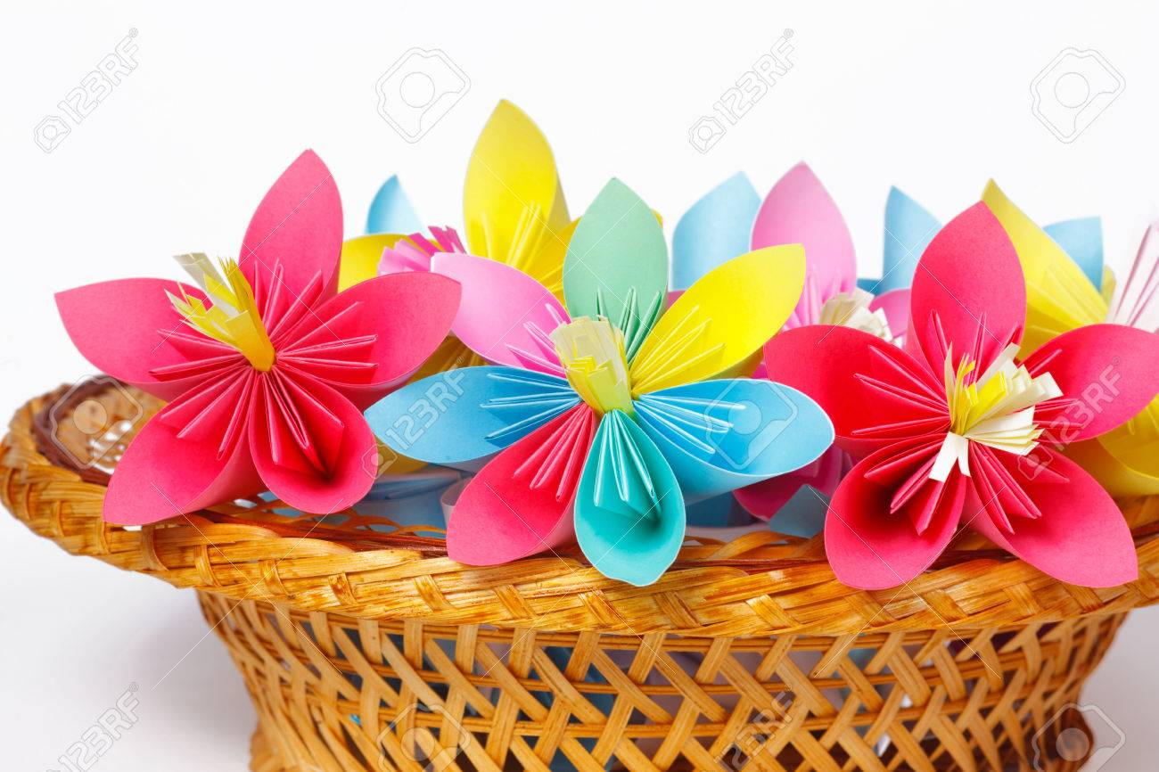 Many Colored Paper Flowers In The Basket Stock Photo Picture And