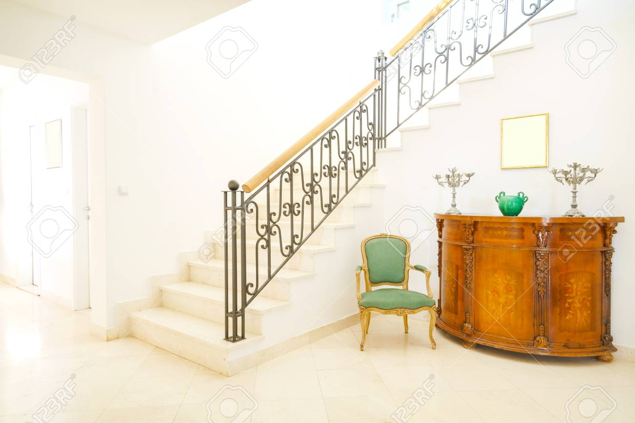 Interior Of A Hall With Stairs In Mini Hotel Stock Photo   61015663