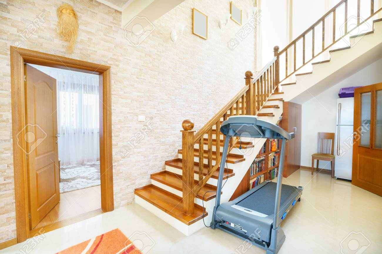 Interior Of A Hall With Stairs In Mini Hotel Stock Photo   61015670