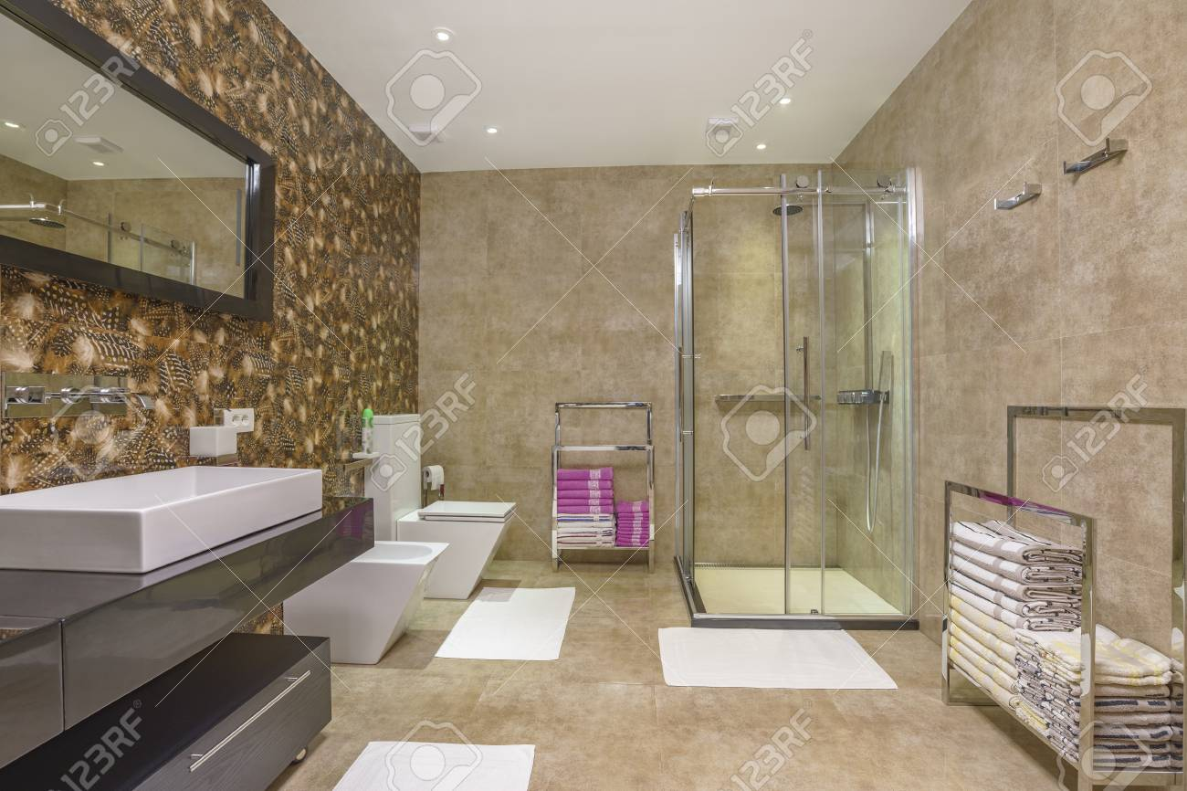 Interior Of A Bathroom In A Luxury Villa Stock Photo Picture And