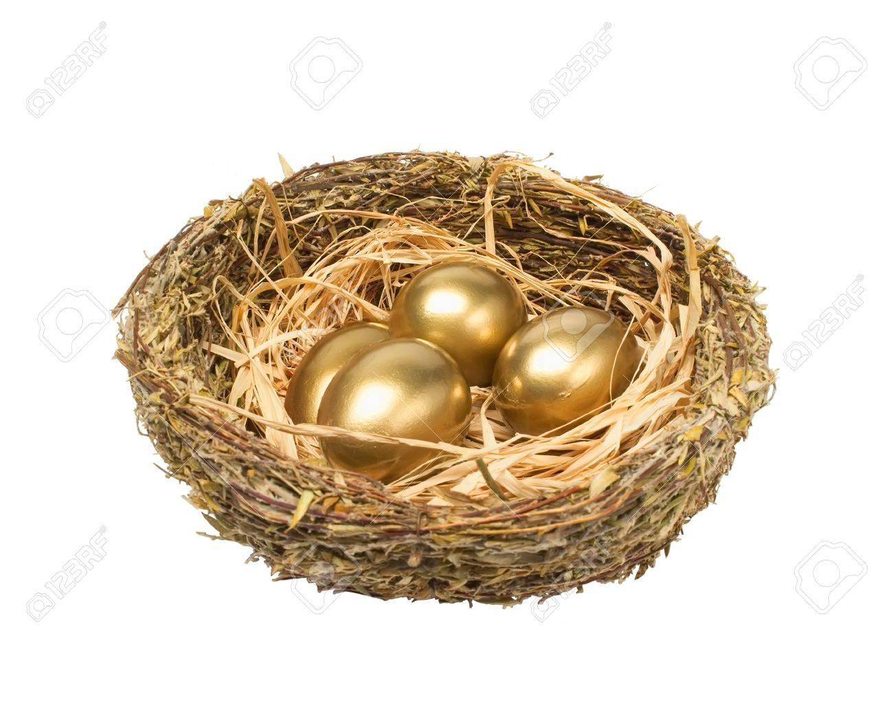Four golden hen Stock Photo - 10297336