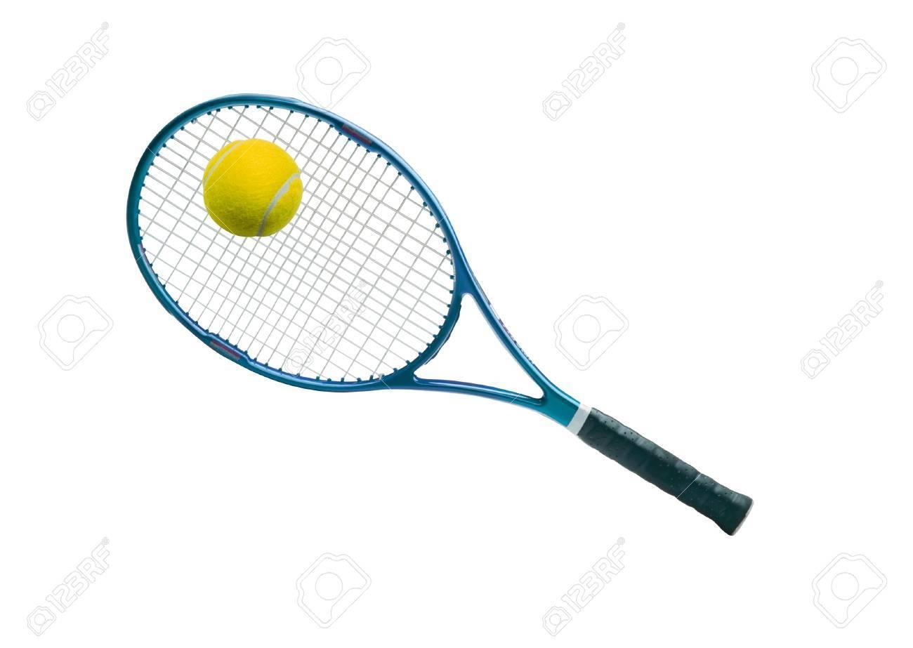Tennis equipment: ball and racket Stock Photo - 10542332