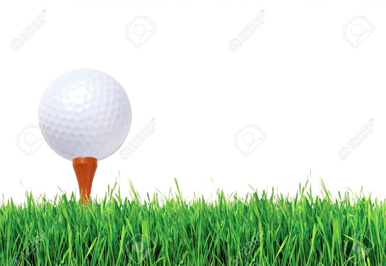 Golf ball on green grass over white background Stock Photo - 10559572