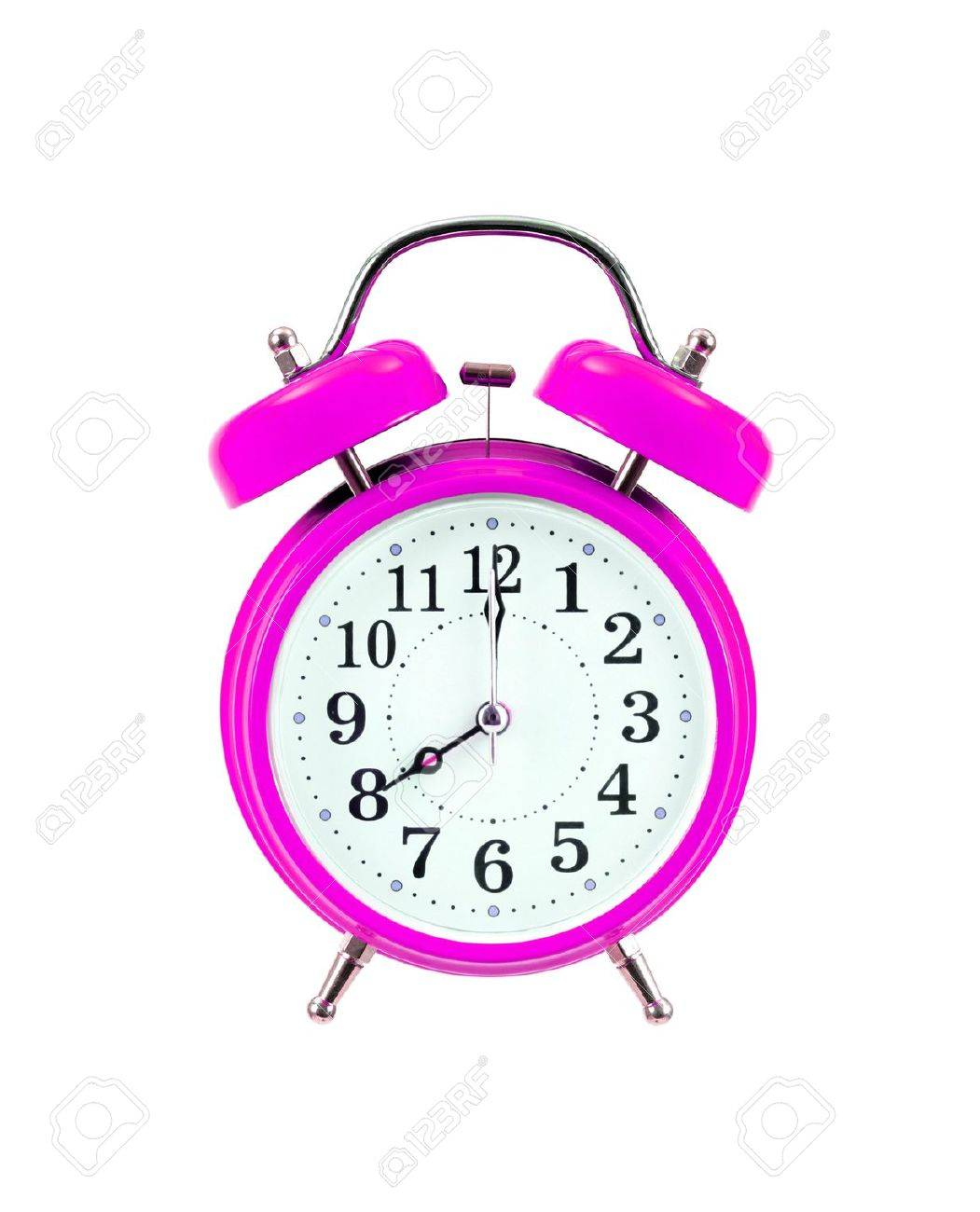 pink vintage alarmclock isolated on white background stock photo
