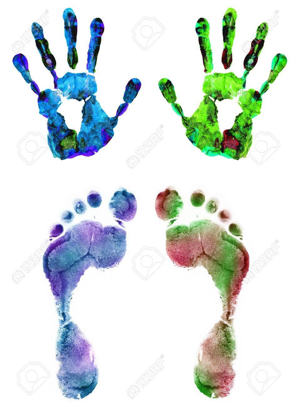 Farbe Hand Und Fußabdrücke Auf Weiß Isoliert Lizenzfreie Fotos
