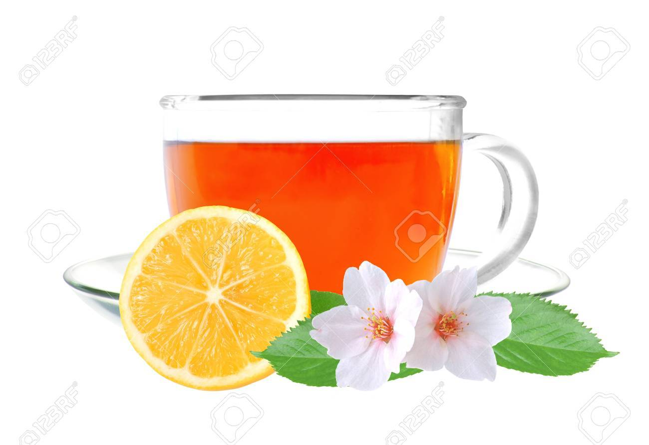 Glass cup tea with lemon and jasmine flowers isolated on a white background Stock Photo - 14255349