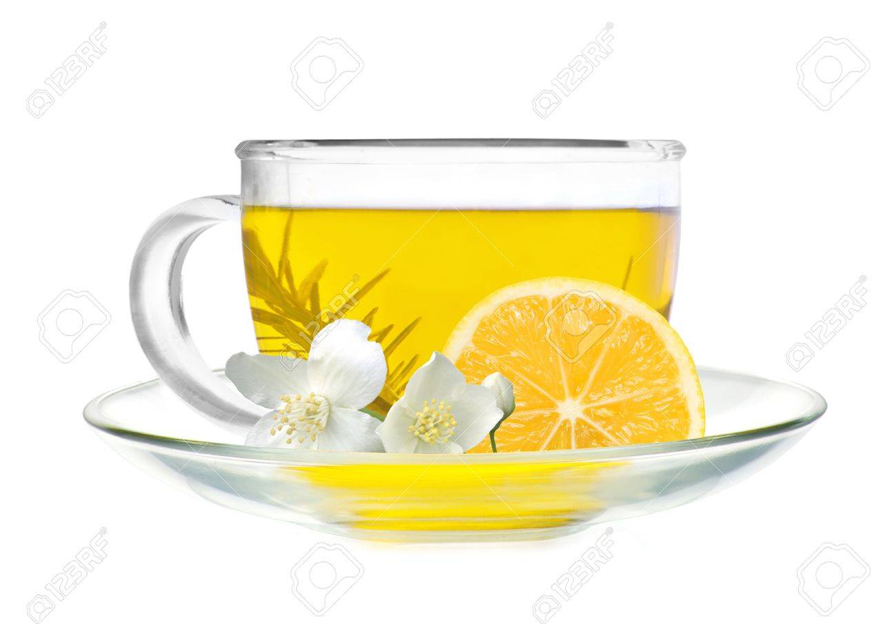cup of green tea with lemon slice and jasmine flowers isolated on white background Stock Photo - 14255340