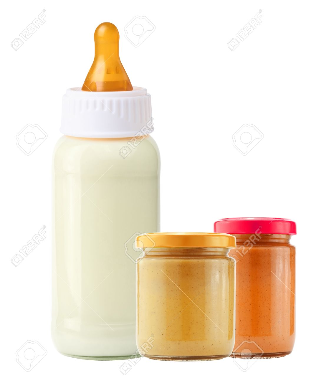 baby food and and milk bottle isolated on white background Stock Photo - 15898791