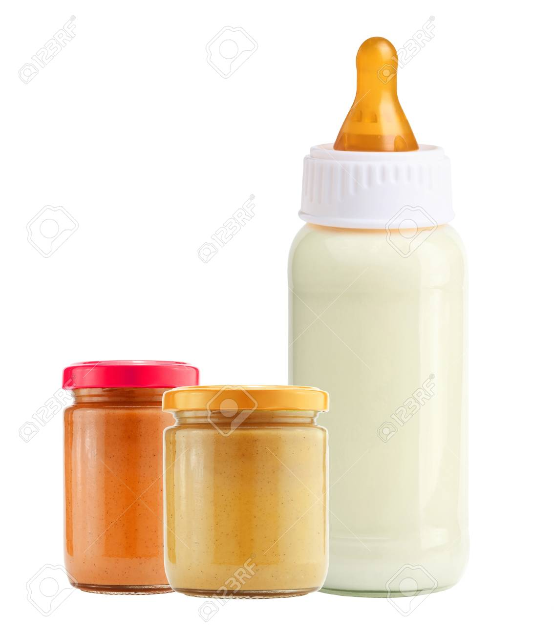 baby food and and milk bottle isolated on white background Stock Photo - 17859718