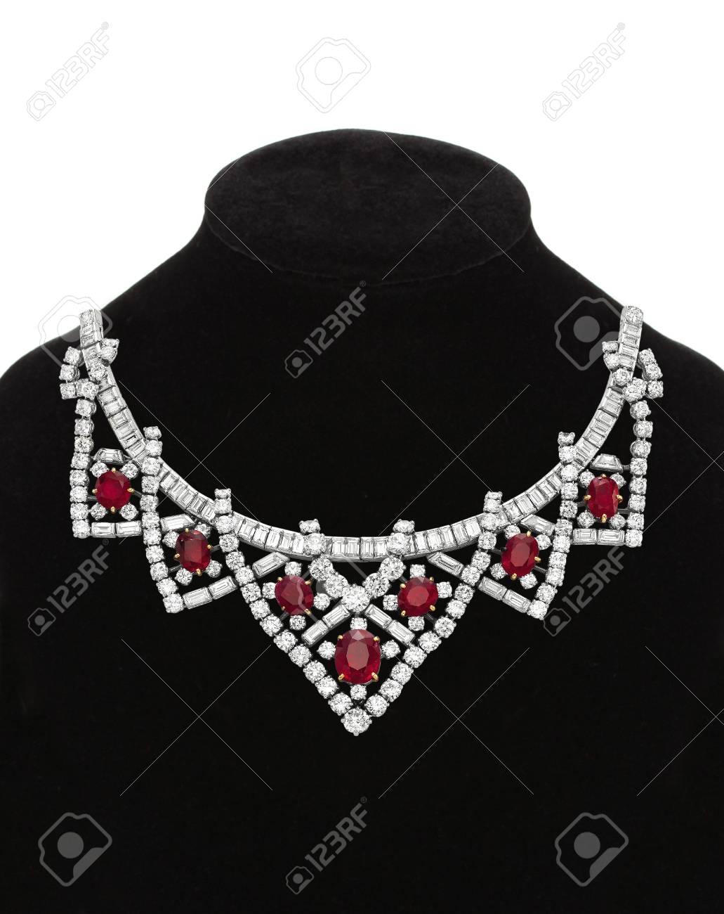 Pendant with red gem stones on black mannequin isolated on white Stock Photo - 17859729