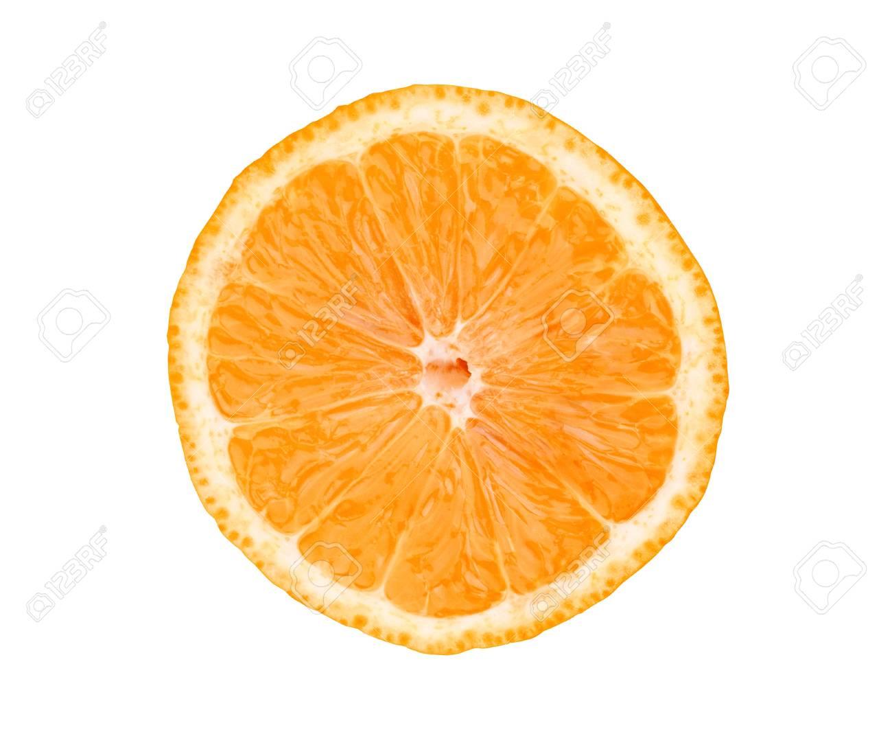 Big fresh juicy orange slice isolated on white background Stock Photo - 17859725