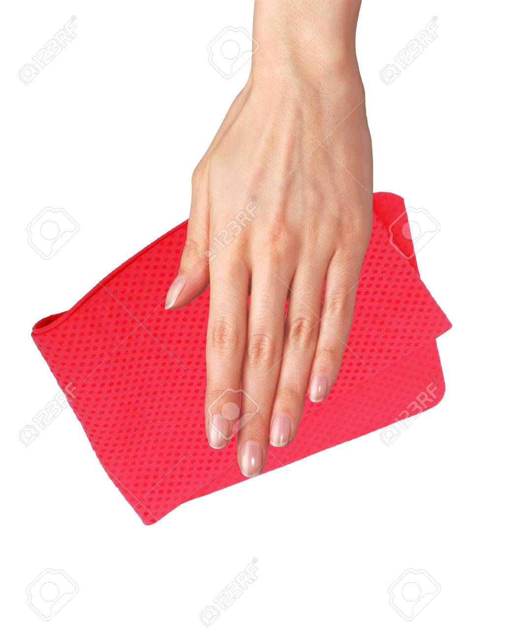 Hand wiping surface with red rag isolated on white Stock Photo - 27215310