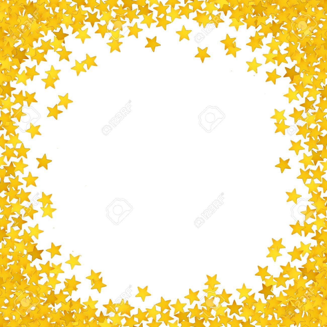 Confeti, Estrellas Amarillas Marco De Pequeñas Estrellas Brillantes ...