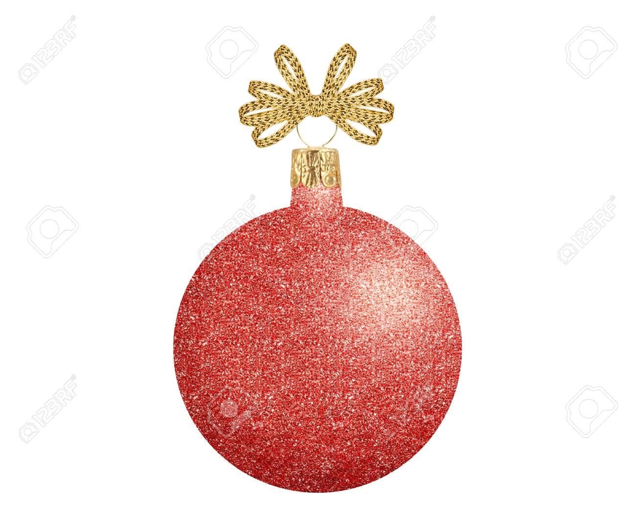 Red Glitter Weihnachtsdekor Ball Isoliert Auf Weißem Hintergrund ...