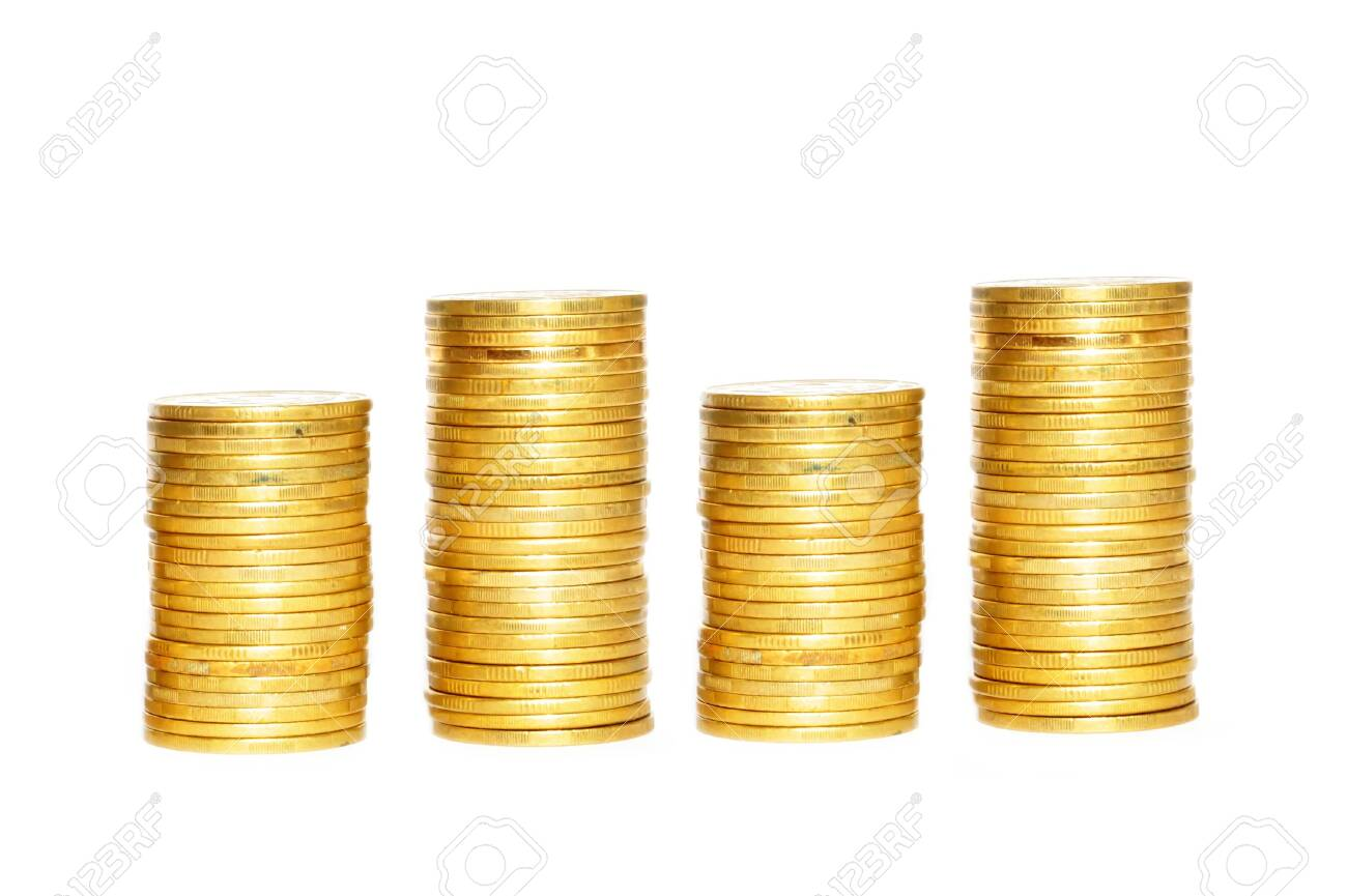 Savings, increasing columns of gold coins isolated on white background - 139122836