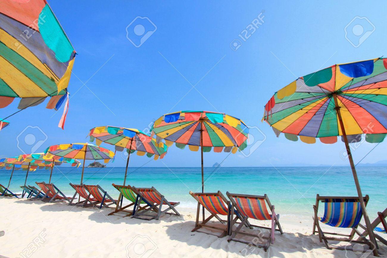 Beach chair and colorful umbrella on the beach , Phuket Thailand Stock Photo - 9680896