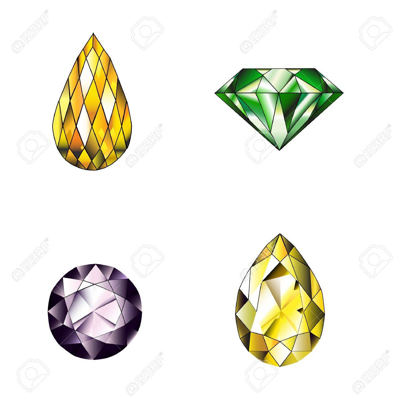 Many Type And Collection Of Colorful Jewelry And Diamond Shape ...