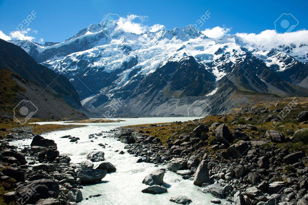 Beautiful view and glacier in Mount Cook National Park, South Island, New Zealand Stock Photo - 17240870