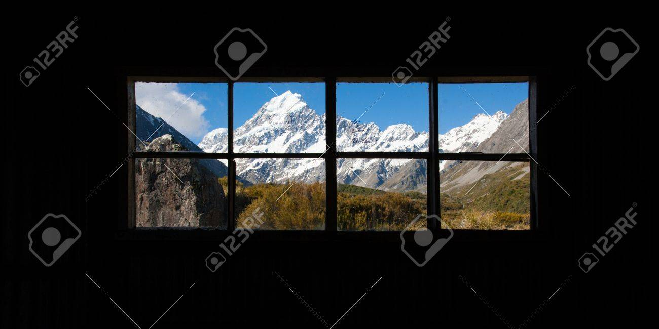 Beautiful view of Mount Cook National Park, South Island, New Zealand when see though window Stock Photo - 17240844