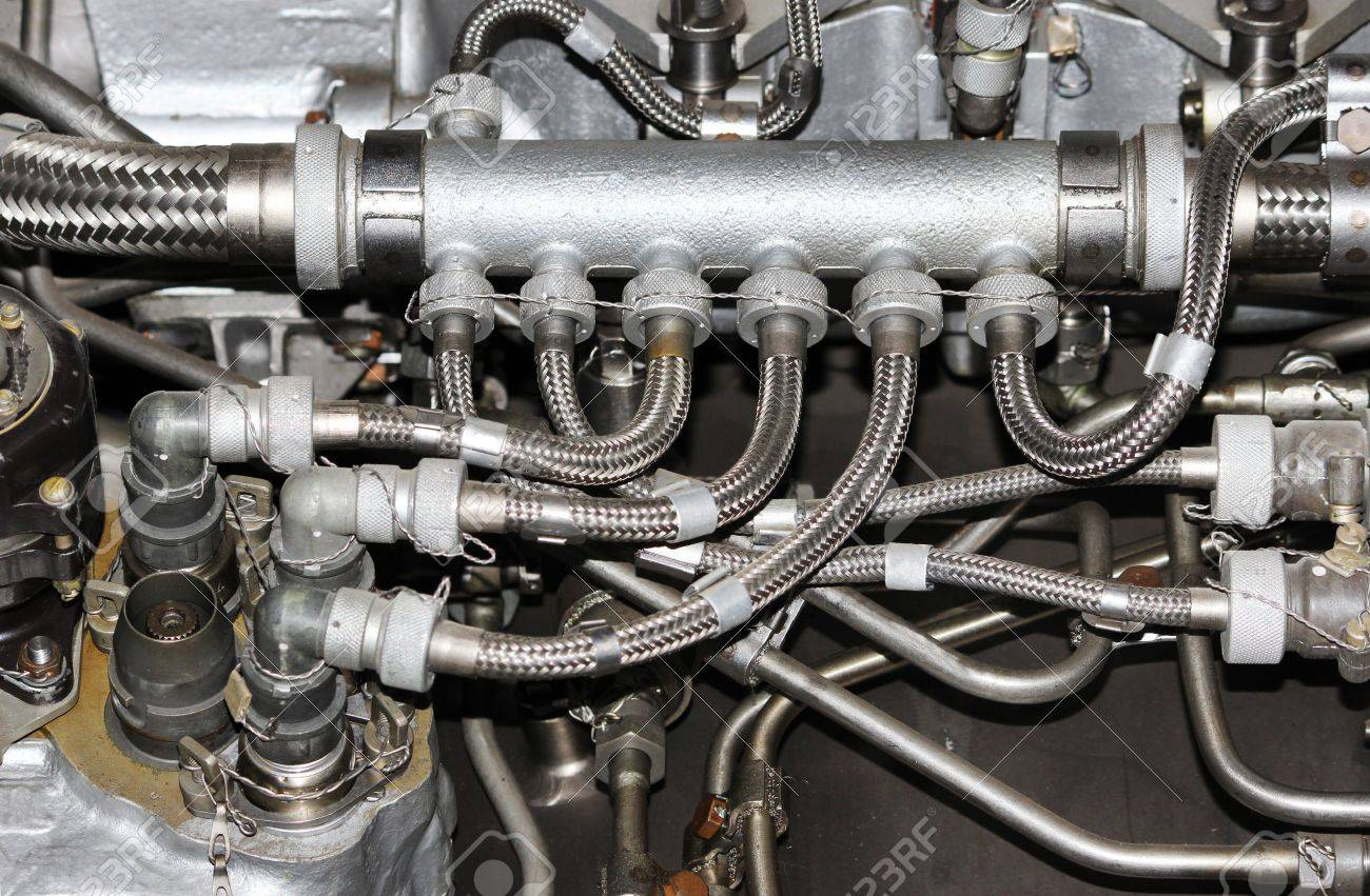 The Internal Structure Of The Aircraft Engine, With Hydraulic ...
