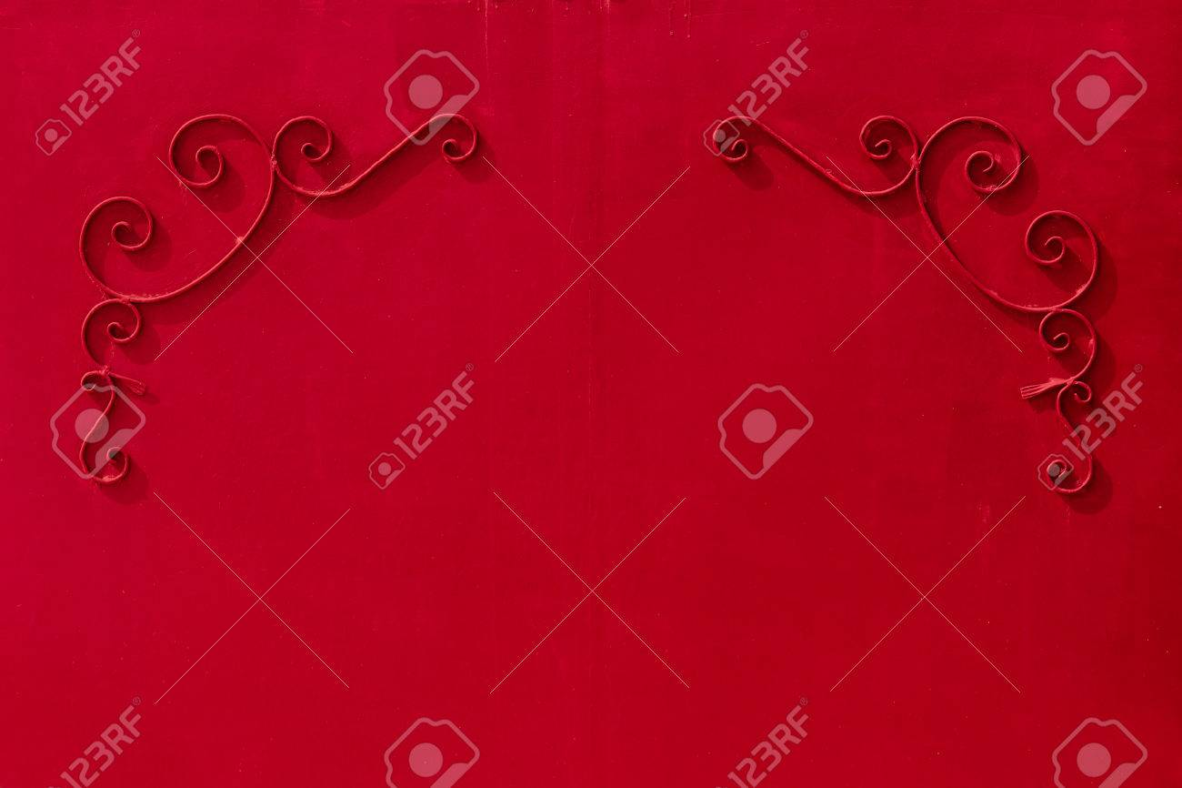 Metal Red Gates With A Pattern In The Form Of Curls Covered With ...