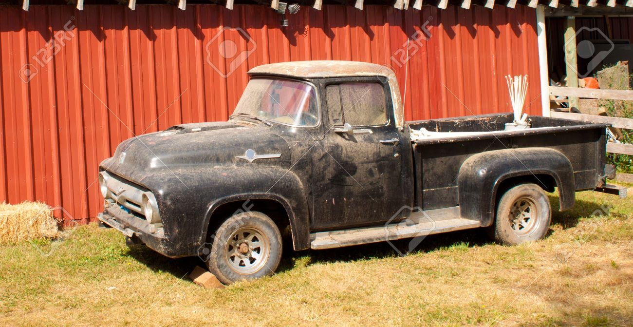 Old Pickup Truck Parked By A Barn In Idaho Stock Photo, Picture ...
