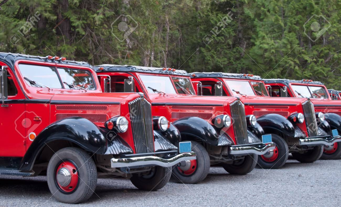 Line Of Restored Old 1930\'s Trucks Used As Tour Buses Today Stock ...