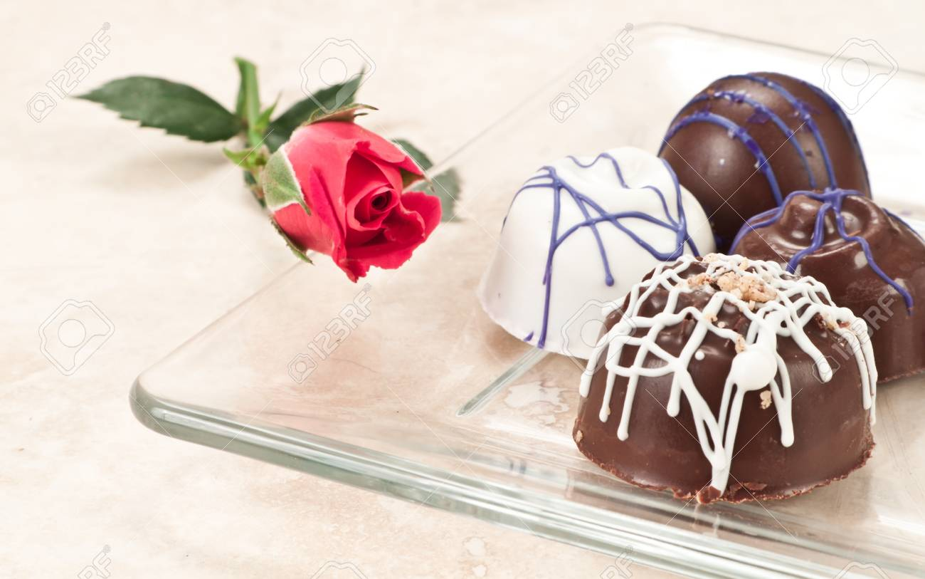 Organic Hand Crafted Chocolates With Beautiful Designs Stock Photo